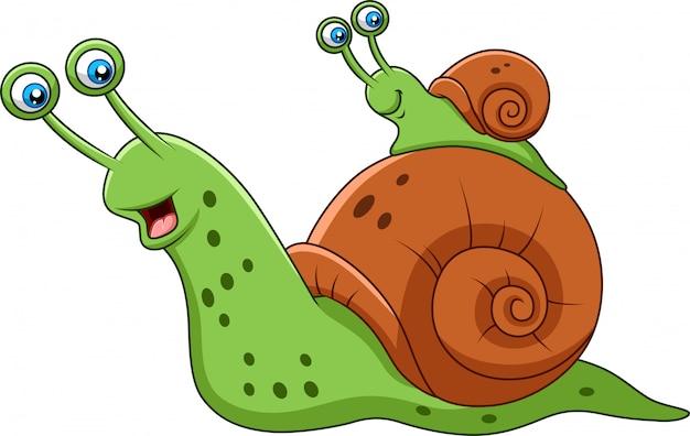 Kreskówka matka ślimak i jej dziecko