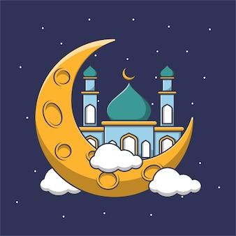 Kreskówka meczetu na księżycu