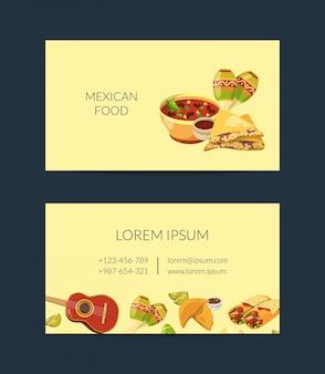 Kreskówka meksykańskie jedzenie wizytówki szablon dla kuchni meksykańskiej