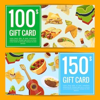 Kreskówka meksykańskie jedzenie zniżka lub kupon prezentowy