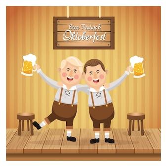 Kreskówka mężczyzn mężczyzna piwa festiwal oktoberfest niemcy ikona