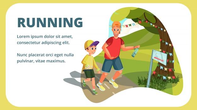 Kreskówka mężczyzna chłopiec biegnie transparent ojciec syn biegacz