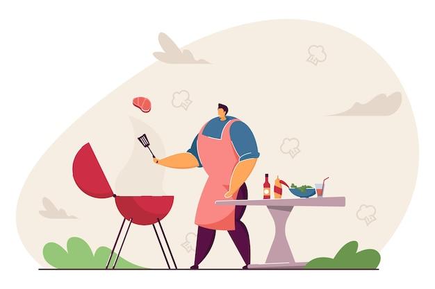 Kreskówka mężczyzna gotowanie stek mięsny, robi grill na świeżym powietrzu