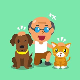 Kreskówka mężczyzna i jego zwierzęta domowe