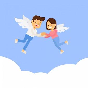 Kreskówka mężczyzna i kobieta latające w niebie