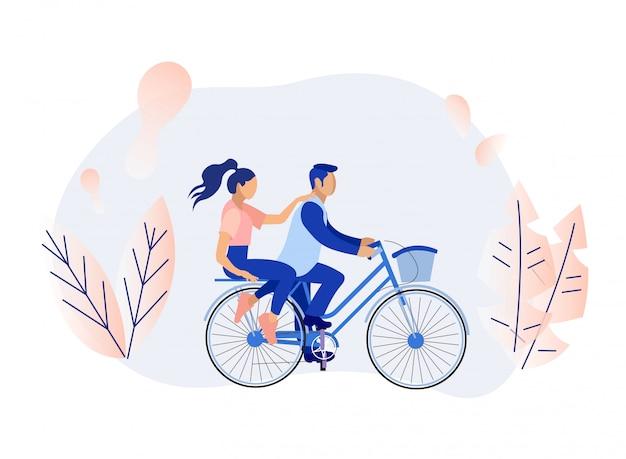 Kreskówka mężczyzna i kobieta para jazda na rowerze w lesie