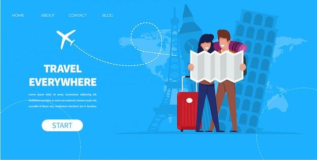 Kreskówka mężczyzna i kobieta z mapą i walizką