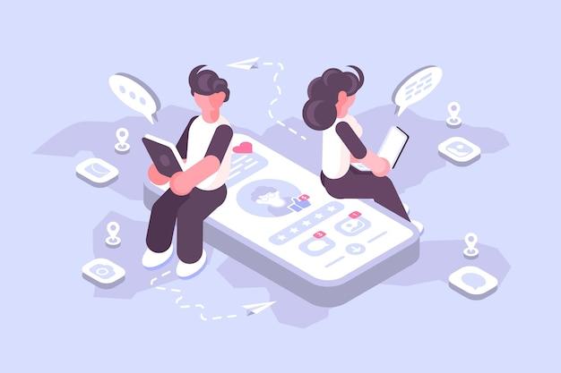 Kreskówka mężczyzna i kobieta za pomocą mediów społecznościowych na nowoczesnych gadżetach