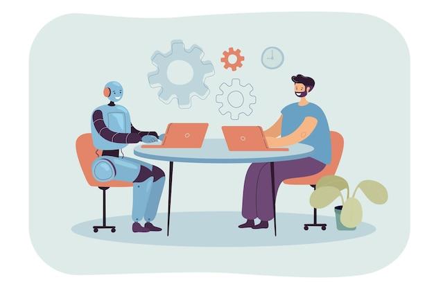 Kreskówka mężczyzna i robot siedzą razem przy laptopach w miejscu pracy