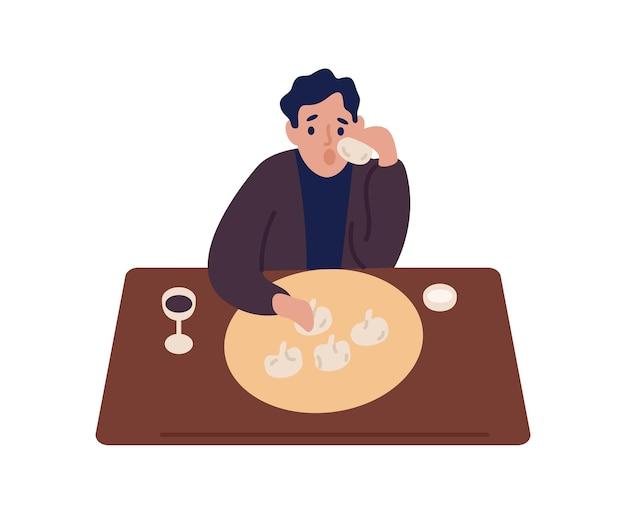 Kreskówka mężczyzna jeść chinkali i pić wino siedząc przy stole wektor ilustracja płaskie. głodny człowiek kolorowy jedzenie pysznego posiłku w restauracji lub kawiarni na białym tle. facet próbuje smacznego jedzenia.