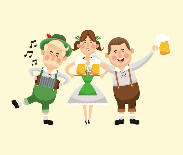 Kreskówka mężczyzna kobieta dziewczyna piwa festiwal oktoberfest niemcy ikona
