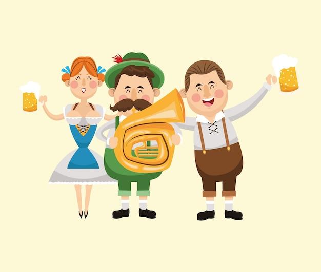 Kreskówka mężczyzna kobieta dziewczyna saksofon piwo festiwal oktoberfest niemcy ikona