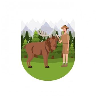 Kreskówka mężczyzna leśniczy