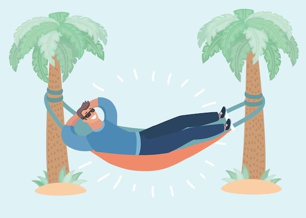 Kreskówka mężczyzna leżący w hamaku z konewką
