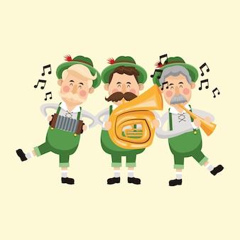 Kreskówka mężczyzna mężczyzna saksofon piwo festiwal oktoberfest niemcy ikona