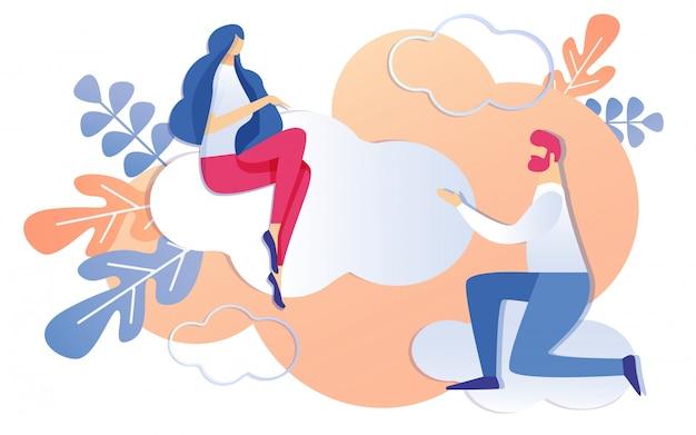 Kreskówka mężczyzna na kolanach z prośbą do kobiety siedzącej na chmurze