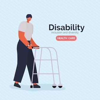 Kreskówka mężczyzna niepełnosprawny z chodzikiem o różnorodności włączenia i tematyce opieki zdrowotnej.