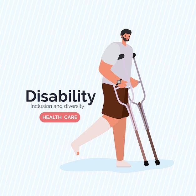 Kreskówka mężczyzna niepełnosprawny z gipsem nóg i kulami z różnorodności inkluzji i tematu opieki zdrowotnej.