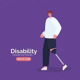 Kreskówka mężczyzna niepełnosprawny z protezą nogi z różnorodności włączenia i tematu opieki zdrowotnej.