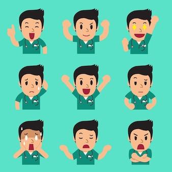 Kreskówka mężczyzna pielęgniarka twarze przedstawiające różne emocje
