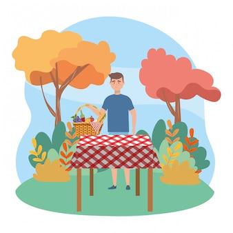 Kreskówka mężczyzna pikniku