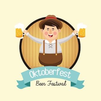 Kreskówka mężczyzna piwa festiwal oktoberfest niemcy ikona