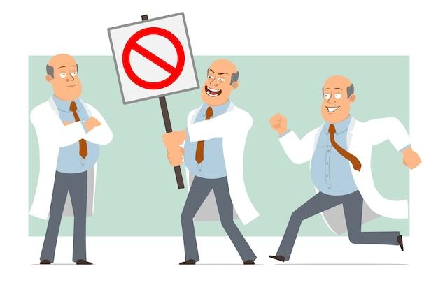 Kreskówka mężczyzna płaski zabawny gruby łysy lekarz w białym mundurze z krawatem. chłopiec działa i nie trzyma znaku stopu wejścia. gotowy do animacji. na białym tle na zielonym tle. zestaw.