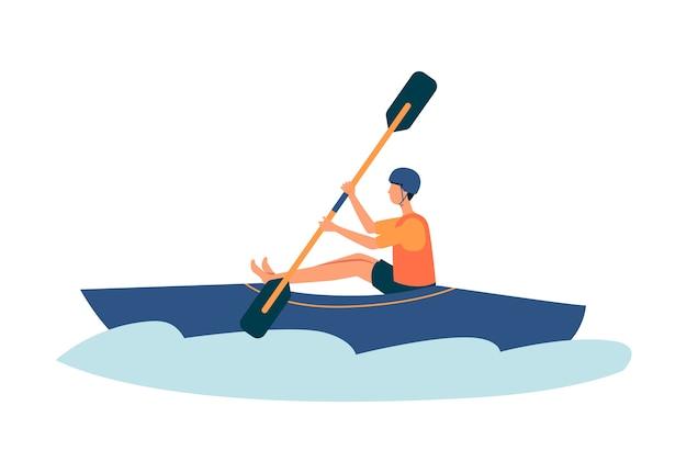 Kreskówka mężczyzna, pływanie kajakiem w rzece w kajaku niebieski - sportowiec uprawiania sportów ekstremalnych na sobie kamizelkę bezpieczeństwa i kask. ilustracja na białym tle.