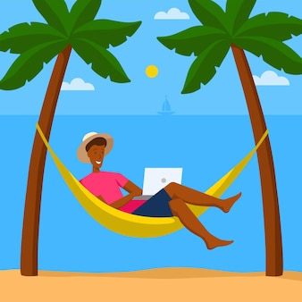 Kreskówka mężczyzna pracuje z laptopem w hamaku w tropikalnej scenie. pojęcie pracy zdalnej, praca na zlecenie.