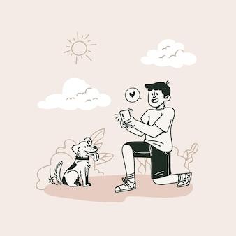 Kreskówka mężczyzna robi zdjęcia smartfonem