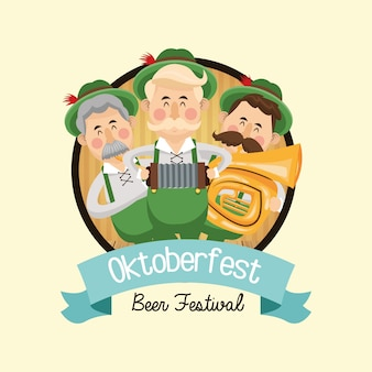Kreskówka mężczyzna saksofonowy wąsy piwa festiwalu oktoberfest germany ikona