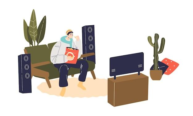 Kreskówka mężczyzna siedzi na trenerze i ogląda telewizję z przekąskami