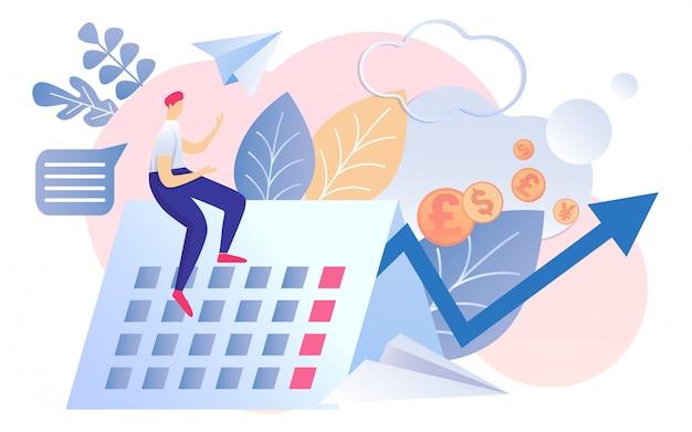 Kreskówka mężczyzna siedzieć kalendarz miesięczny raport finansowy