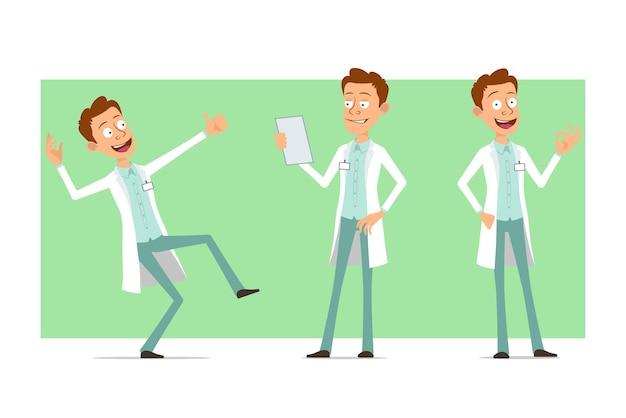 Kreskówka mężczyzna śmieszne lekarz postać w białym mundurze z odznaką. chłopiec czyta dokument papierowy i pokazuje kciuk w górę gest.