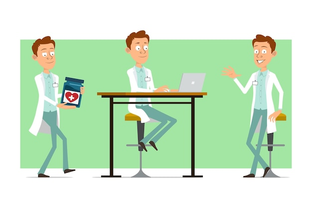 Kreskówka mężczyzna śmieszne lekarz postać w białym mundurze z odznaką. chłopiec niosący słoik medyczny i pracuje na laptopie.
