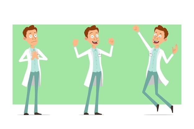 Kreskówka mężczyzna śmieszne lekarz postać w białym mundurze z odznaką. chłopiec pozuje, skacze i pokazuje mięśnie.