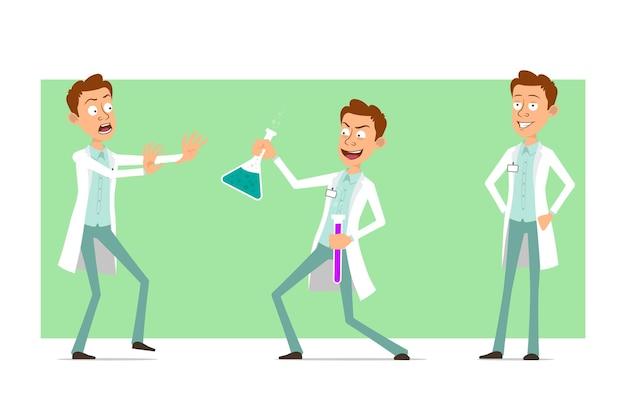 Kreskówka mężczyzna śmieszne lekarz postać w białym mundurze z odznaką. chłopiec przestraszony i trzymając kolby chemiczne z płynem.