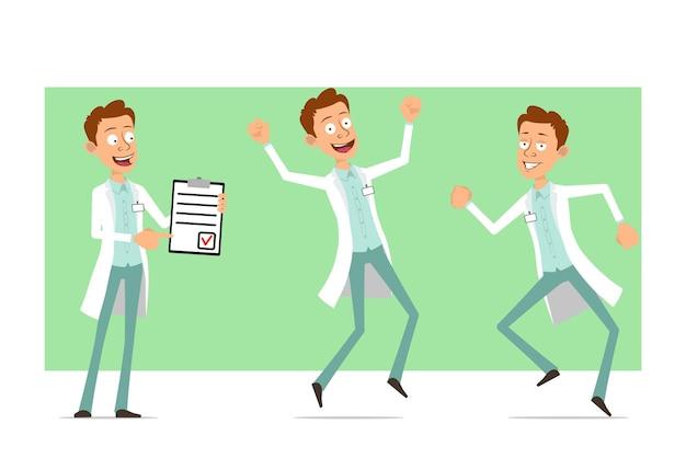 Kreskówka mężczyzna śmieszne lekarz postać w białym mundurze z odznaką. chłopiec skacze, tańczy i pokazuje listę rzeczy do zrobienia.