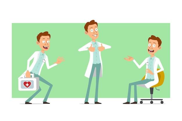 Kreskówka mężczyzna śmieszne lekarz postać w białym mundurze z odznaką. chłopiec trzyma apteczkę medyczną i pokazuje kciuk do góry znak.