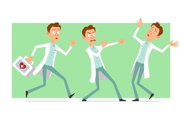 Kreskówka mężczyzna śmieszne lekarz postać w białym mundurze z odznaką. chłopiec walczy i biegnie z apteczką.