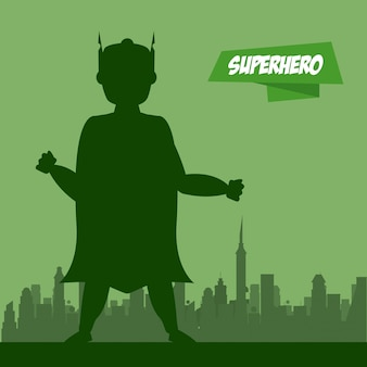 Kreskówka mężczyzna superbohatera na miasto sylwetka