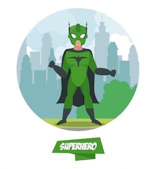 Kreskówka mężczyzna superbohatera na miasto