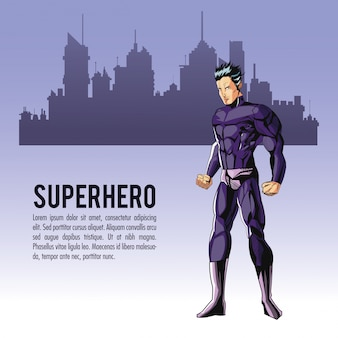 Kreskówka mężczyzna superbohatera