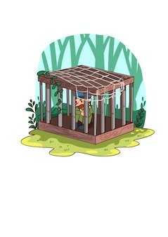 Kreskówka mężczyzna uwięziony w klatce