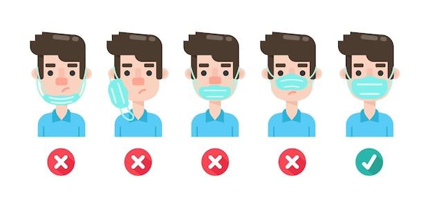 Kreskówka mężczyzna w masce, aby zapobiec koronawirusowi.