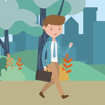 Kreskówka mężczyzna w parku