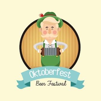 Kreskówka mężczyzna wąsy piwa oktoberfest niemcy ikona