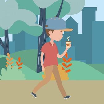 Kreskówka mężczyzna z kubkiem kawy w parku