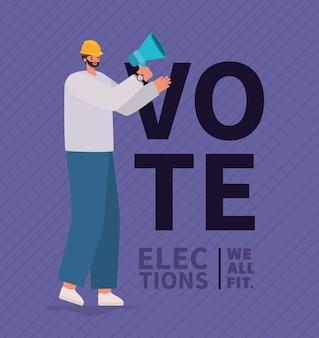 Kreskówka mężczyzna z megafonem i hełmem, dniem wyborów i tematem rządowym.