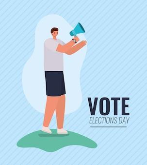 Kreskówka mężczyzna z projektem megafonu, dniem wyborów i tematem rządowym.